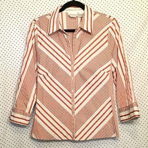 Striped Button Down Easy Care Cotton Stretch Top